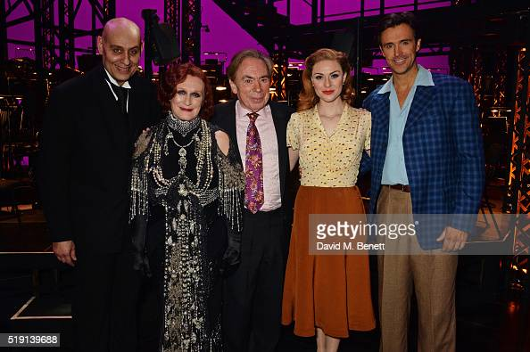 Fred Johanson Glenn Close Lord Andrew Lloyd Webber Siobhan Dillon and Michael Xavier pose backstage at the press night performance of 'Sunset...
