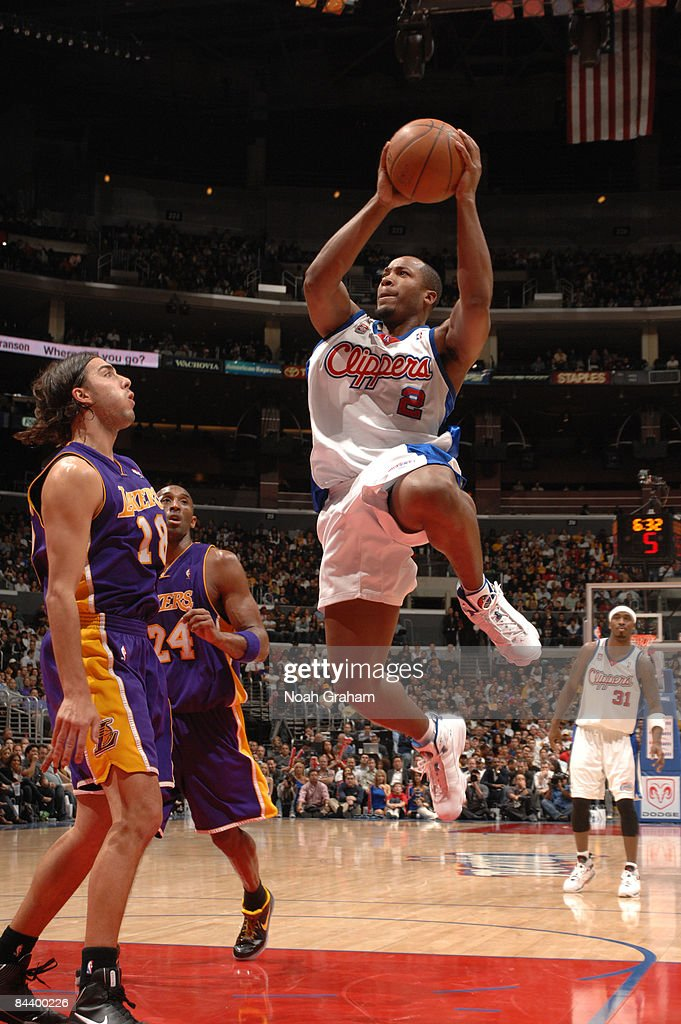 Fred Jones #2 of the Los Angeles Clippers attempts a shot against Sasha Vujacic #18 of the Los Angeles Lakers at Staples Center on January 21, 2009 in Los Angeles, California.