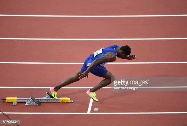Fred Kerley of the United States competes in the Men's 400 metres semifinals during day three of the 16th IAAF World Athletics Championships London...