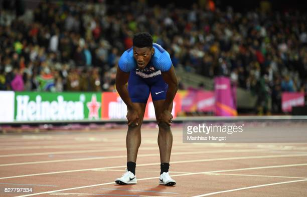 Fred Kerley of the United States reacts after the Men's 400 metres final during day five of the 16th IAAF World Athletics Championships London 2017...
