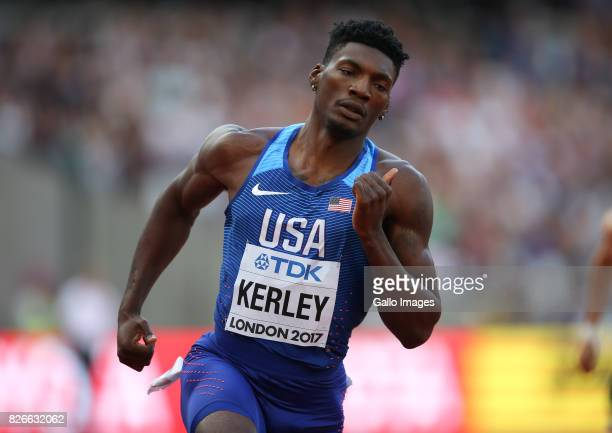 Fred Kerley of the USA in the heats of the mens 400m during day 2 of the 16th IAAF World Athletics Championships 2017 at The Stadium Queen Elizabeth...