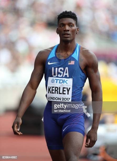 Fred Kerley of United States competes in the Men's 400m heats during day two of the 16th IAAF World Athletics Championships London 2017 at The London...