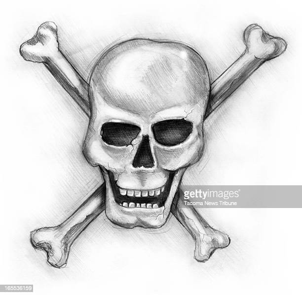 Fred Matamoros black and white illustration of a skull and crossbones The News Tribune /MCT via Getty Images