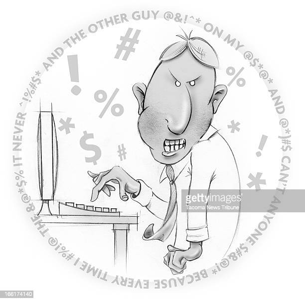 Fred Matamoros BW illustration of an angry employee cussing at work The News Tribune /MCT via Getty Images