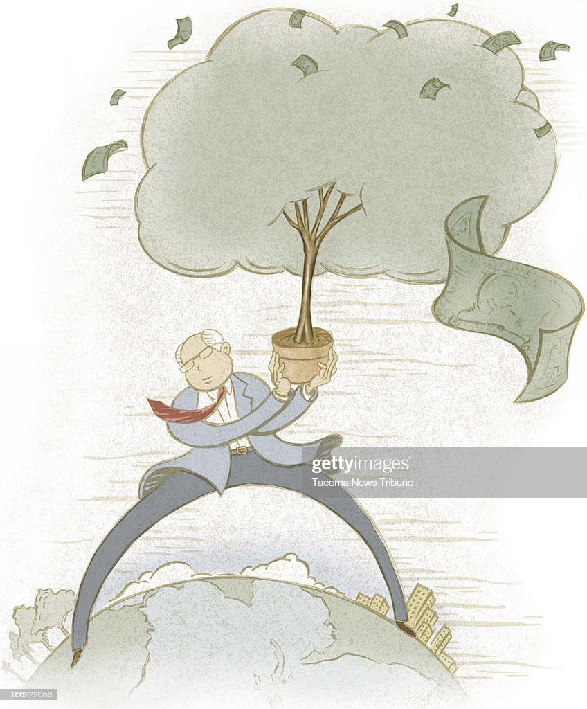 Fred Matamoros color illustration of American businessman stepping across the ocean to South America bearing a green tree shedding dollar bills The...