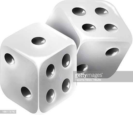 Fred Matamoros color illustration of pair of dice The News Tribune /MCT via Getty Images