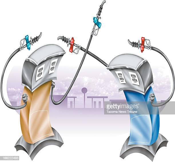 Fred Matamoros color illustration of two gas pumps fighting each other with their fuel lines The News Tribune /MCT via Getty Images