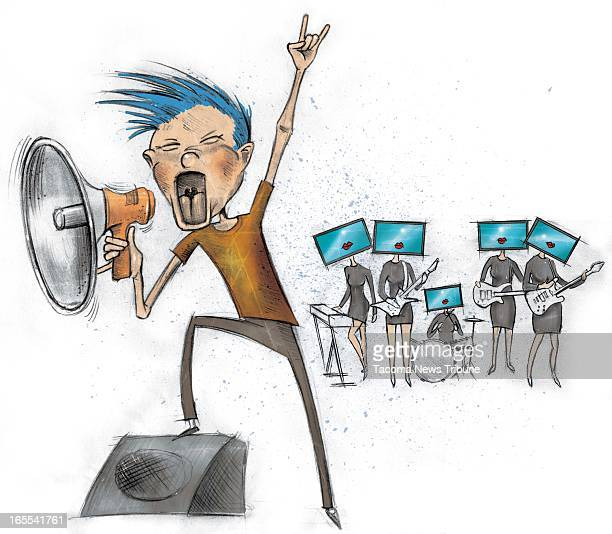 Fred Matamoros color illustration of young guy yelling into bullhorn to promote rock band a group of 'Robert Palmer' women with monitors for heads...