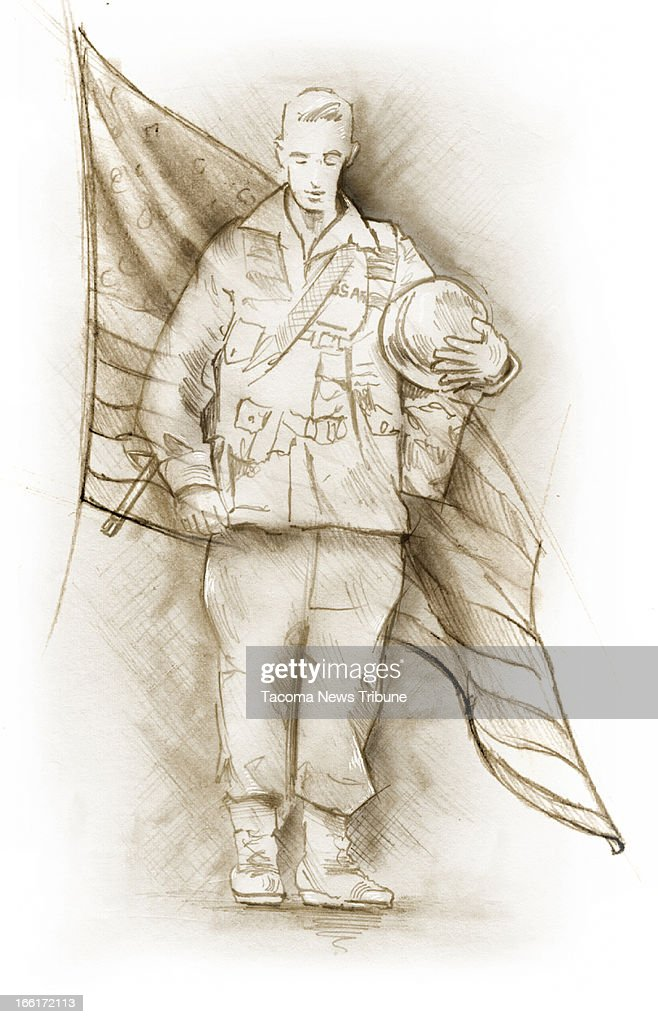 Fred Matamoros illustration of U.S. soldier standing in front of flag. (The News Tribune (Tacoma, Wash.)/MCT via Getty Images)
