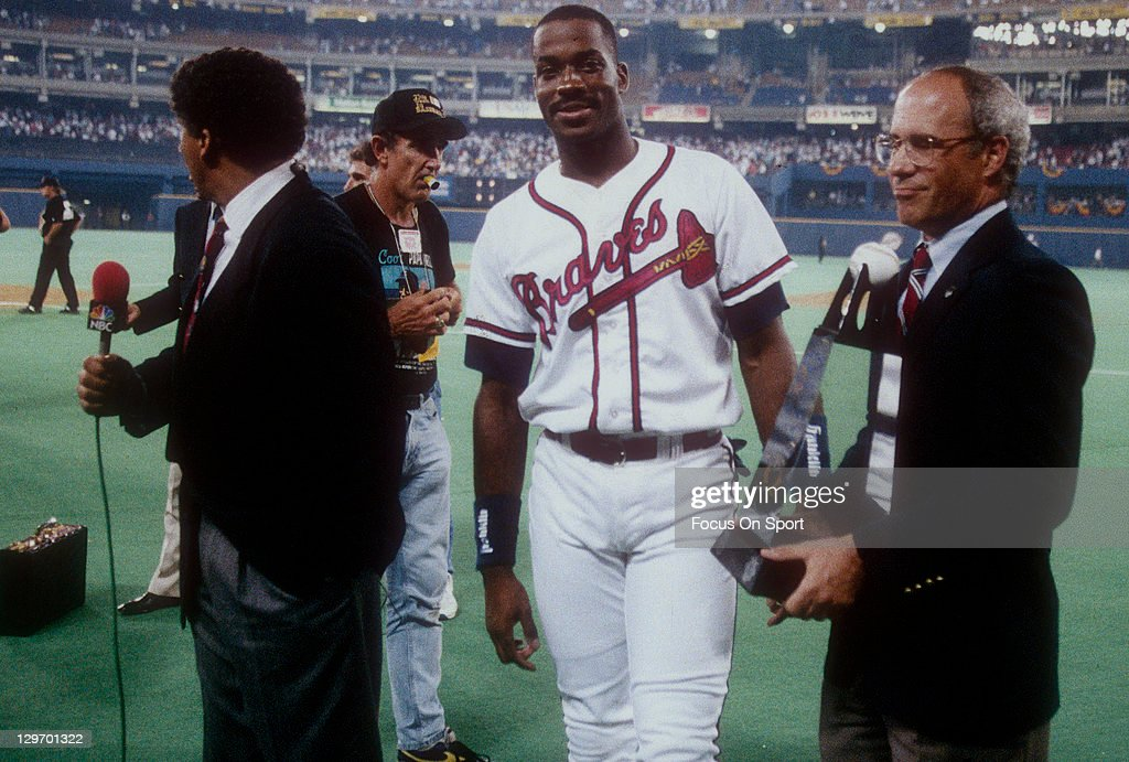 Fred McGriff #27 of the Atlanta Braves wins the Most Valuable Player award in the MLB All Star Game July 12, 1994 at Three Rivers Stadium in Pittsburgh, Pennsylvania. The National league won the game 8-7 in ten innings.