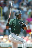 Fred McGriff of the Tampa Bay Devil Rays singles against the Pittsburgh Pirates during spring training on March 9 2004 at McKechnie Field in...