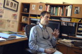 Fred Nathan of Think New Mexico talks about the New Mexico Senate race in his Santa Fe office