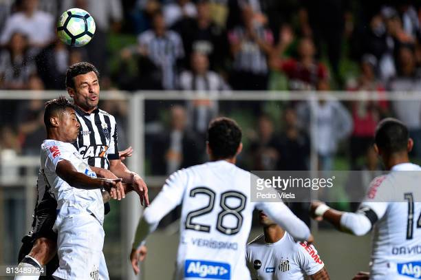 Fred of Atletico MG and Bruno Henrique of Santos battle for the ball during a match between Atletico MG and Santos as part of Brasileirao Series A...