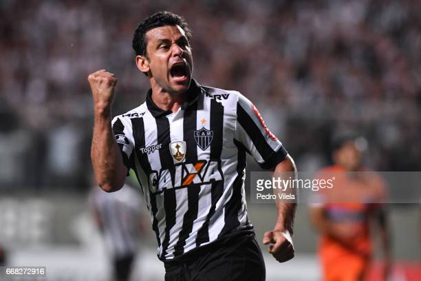 Fred of Atletico MG celebrates a scored goal against Sport Boys during a match between Atletico MG and Sport Boys as part of Copa Bridgestone...