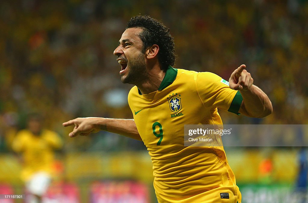 Fred of Brazil (9) celebrates as he scores their fourth goal during the FIFA Confederations Cup Brazil 2013 Group A match between Italy and Brazil at Estadio Octavio Mangabeira (Arena Fonte Nova Salvador) on June 22, 2013 in Salvador, Brazil.