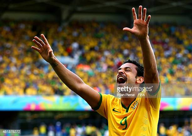 Fred of Brazil celebrates his team's first goal during the 2014 FIFA World Cup Brazil Round of 16 match between Brazil and Chile at Estadio Mineirao...