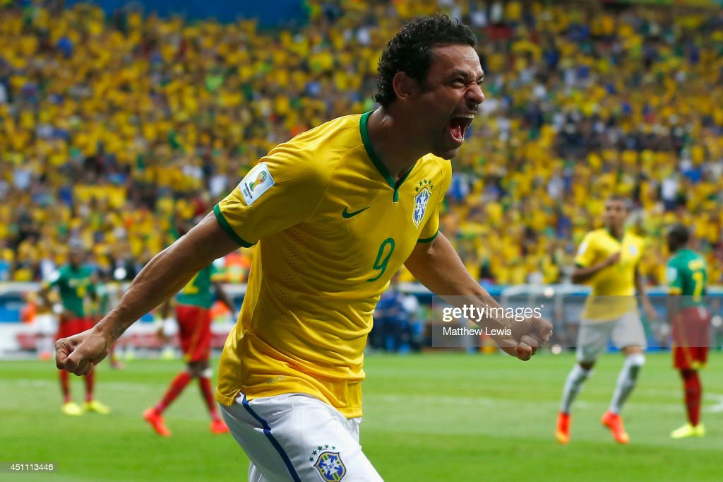 Fred of Brazil celebrates scoring his team's third goal during the 2014 FIFA World Cup Brazil Group A match between Cameroon and Brazil at Estadio Nacional on June 23, 2014 in Brasilia, Brazil.
