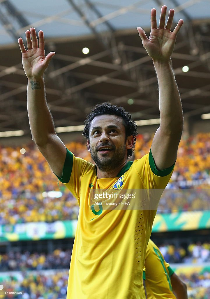 Fred of Brazil celebrates scoring the opening goal during the FIFA Confederations Cup Brazil 2013 Semi Final match between Brazil and Uruguay at Governador Magalhaes Pinto Estadio Mineirao on June 26, 2013 in Belo Horizonte, Brazil.