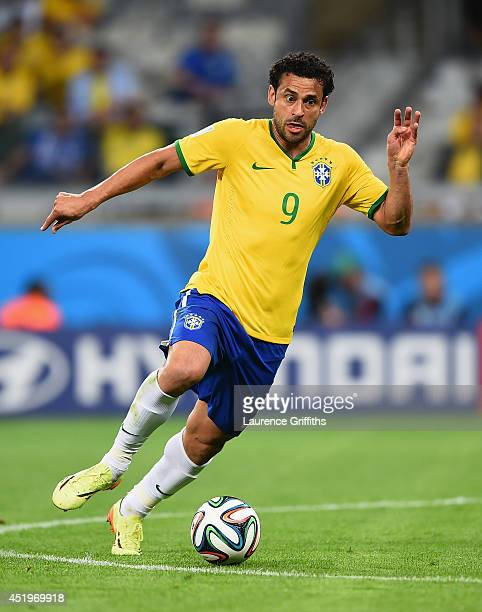 Fred of Brazil in action during the 2014 FIFA World Cup Brazil Semi Final match between Brazil and Germanyat Estadio Mineirao on July 8 2014 in Belo...