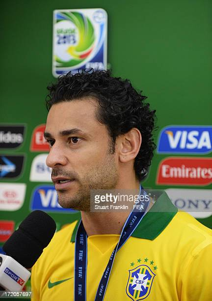 Fred of Brazil is interviewed after the FIFA Confederations Cup Brazil 2013 Final match between Brazil and Spain at Maracana on June 30 2013 in Rio...