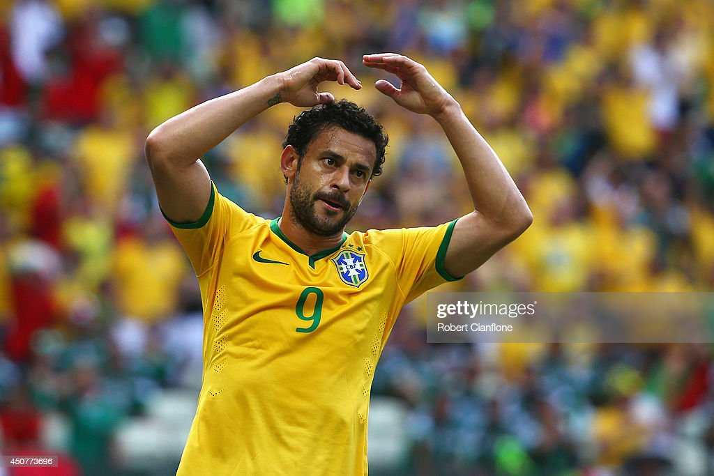 Fred of Brazil reacts during the 2014 FIFA World Cup Brazil Group A match between Brazil and Mexico at Castelao on June 17, 2014 in Fortaleza, Brazil.