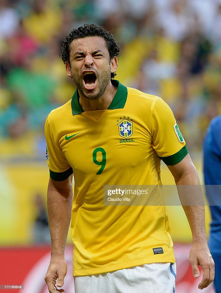 Fred of Brazil reacts during the FIFA Confederations Cup Brazil 2013 Group A match between Italy and Brazil at Estadio Octavio Mangabeira (Arena Fonte Nova Salvador) on June 22, 2013 in Salvador, Brazil.