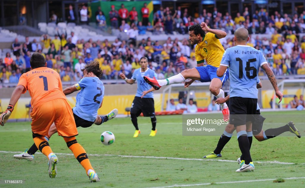 Fred of Brazil scores the opening goal during the FIFA Confederations Cup Brazil 2013 Semi Final match between Brazil and Uruguay at Governador Magalhaes Pinto Estadio Mineirao on June 26, 2013 in Belo Horizonte, Brazil.