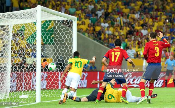 Fred of Brazil scores the opening goal during the FIFA Confederations Cup Brazil 2013 Final match between Brazil and Spain at Maracana on June 30...