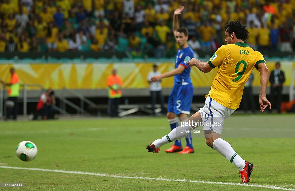 Fred of Brazil scores their fourth goal during the FIFA Confederations Cup Brazil 2013 Group A match between Italy and Brazil at Estadio Octavio Mangabeira (Arena Fonte Nova Salvador) on June 22, 2013 in Salvador, Brazil.
