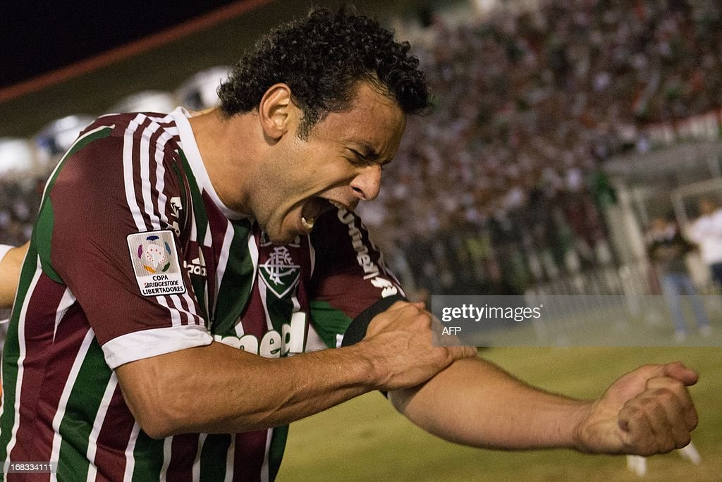 Fred of Brazilian Fluminense celebrates after scoring against Ecuador's Emelec during their Copa Libertadores match at Sao Januario stadium in Rio de Janeiro, Brazil on May 08, 2013.