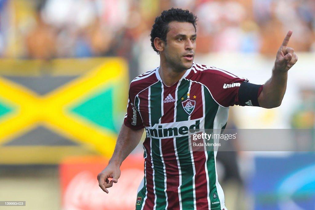 Fred of Fluminense celebrates a scored goal againist Vasco during the final match Fluminense v Vasco as part of Rio State Championship 2012 at...