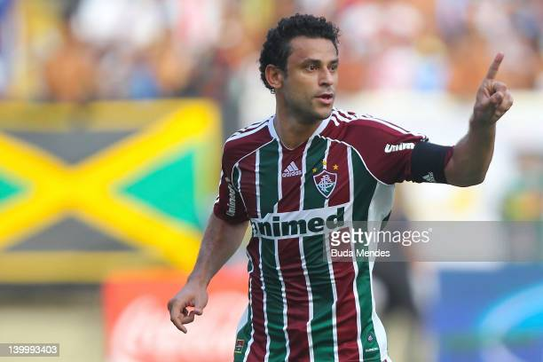 Fred of Fluminense celebrates a scored goal againist Vasco during the final match Fluminense v Vasco as part of Rio State Championship 2012 at...
