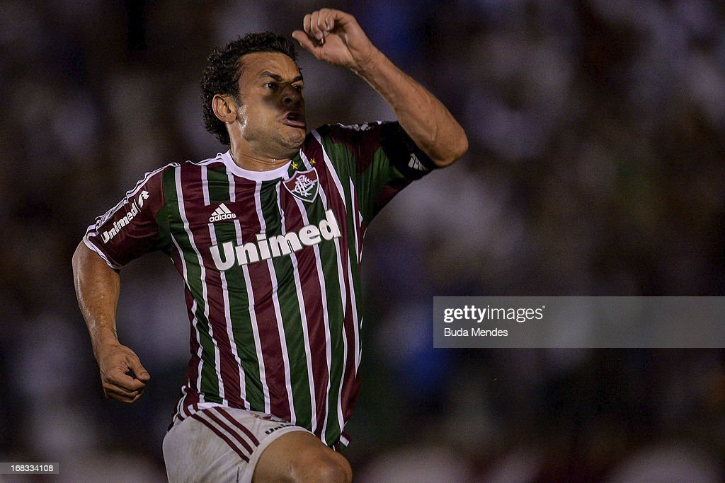 Fred of Fluminense celebrates a scored goal against Emelec during the match between Fluminense and Emelec as part of Libertadores Cup 2013 at Sao Januario Stadium on May 08, 2013 in Rio de Janeiro, Brazil.