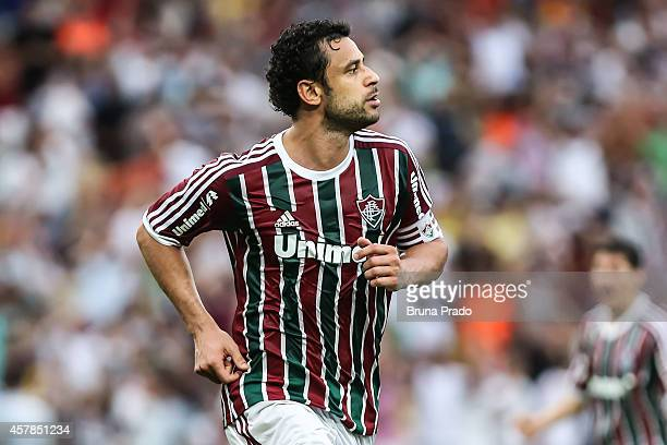 Fred of Fluminense celebrates a scored goal during a match between Fluminense and Atletico PR as part of Brasileirao Series A 2014 at Maracana...