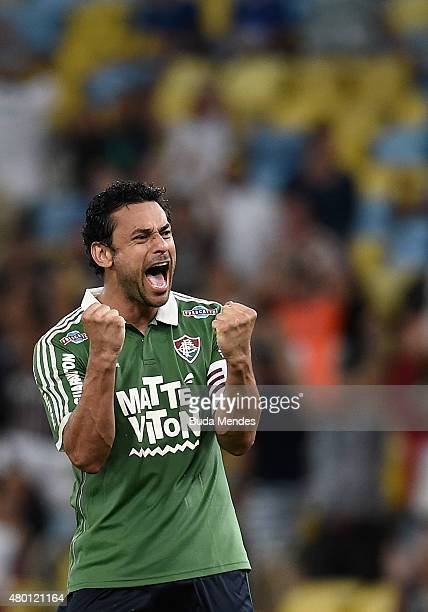 Fred of Fluminense celebrates a victory after a match between Fluminense and Cruzeiro as part of Brasileirao Series A 2015 at Maracana Stadium on...