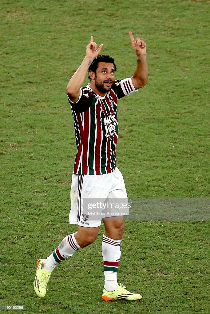 <a gi-track='captionPersonalityLinkClicked' href=/galleries/search?phrase=Fred+-+Fluminense+Football+Club&family=editorial&specificpeople=490870 ng-click='$event.stopPropagation()'>Fred</a> #9 of Fluminense celebrates after scoring a goal against Goias during a match between Fluminense and Goias as part of Brasileirao Series A 2015 at Maracana Stadium on on September 26, 2015 in Rio de Janeiro, Brazil.