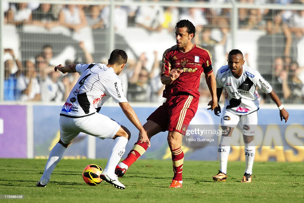 Fred of Fluminense controls the ball during a match between Fluminense and Ponte Preta as part of the Brazilian Championship Serie A 2013 at Moises Lucarelli Stadium on August 04, 2013 in Campinas, Brazil.