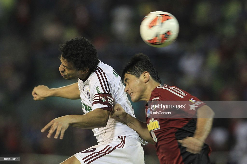 Fred of Fluminense fights for the ball during a match between Caracas FC and Fluminense as part of the 2013 Copa Bridgestone Libertadores at the Olympic Stadium on February 13, 2013 in Caracas, Venezuela.