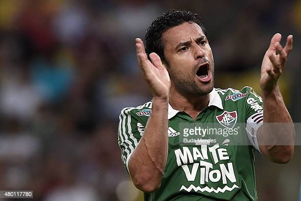 Fred of Fluminense gestures during a match between Fluminense and Cruzeiro as part of Brasileirao Series A 2015 at Maracana Stadium on July 9 2015 in...