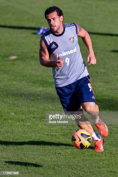 Fred of Fluminense in action during a training session of Fluminense at Laranjeiras training camo on July 18 2013 in Rio de Janeiro Brazil