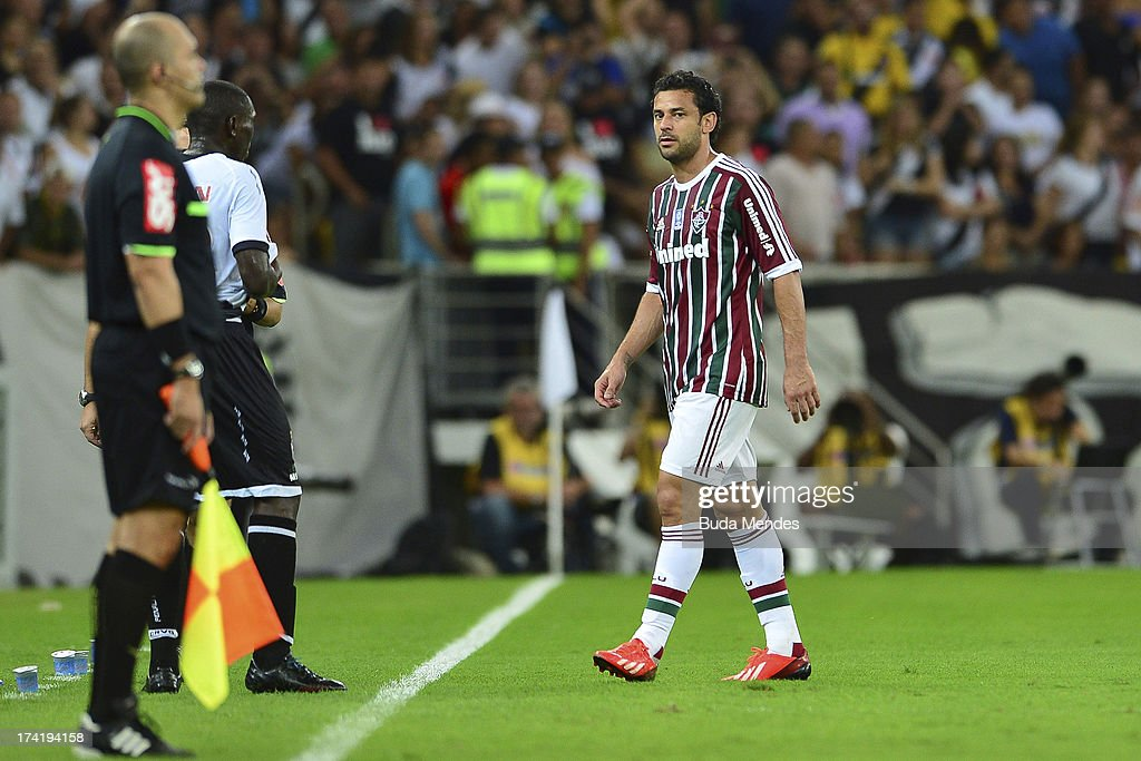 Fred of Fluminense is expelled during a match between Fluminense and Vasco as part of Brazilian Championship 2013 at Maracana Stadium on July 21, 2013 in Rio de Janeiro, Brazil.