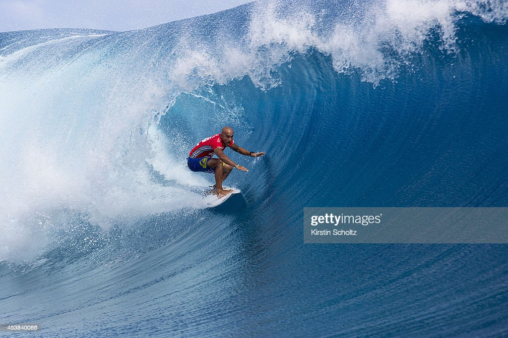 Fred Patacchia Jnr of Hawaii surfs during Round 2 of the Billabong Pro Tahiti on August 19, 2014 in Teahupo'o, French Polynesia.