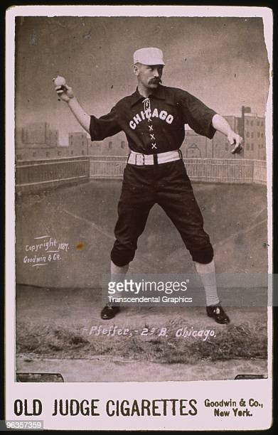 Fred Pfeffer second baseman for the Chicago White Stockings poses in a studio for a cabinet card photo issued by Goodwin Co for Old Judge Cigarettes...