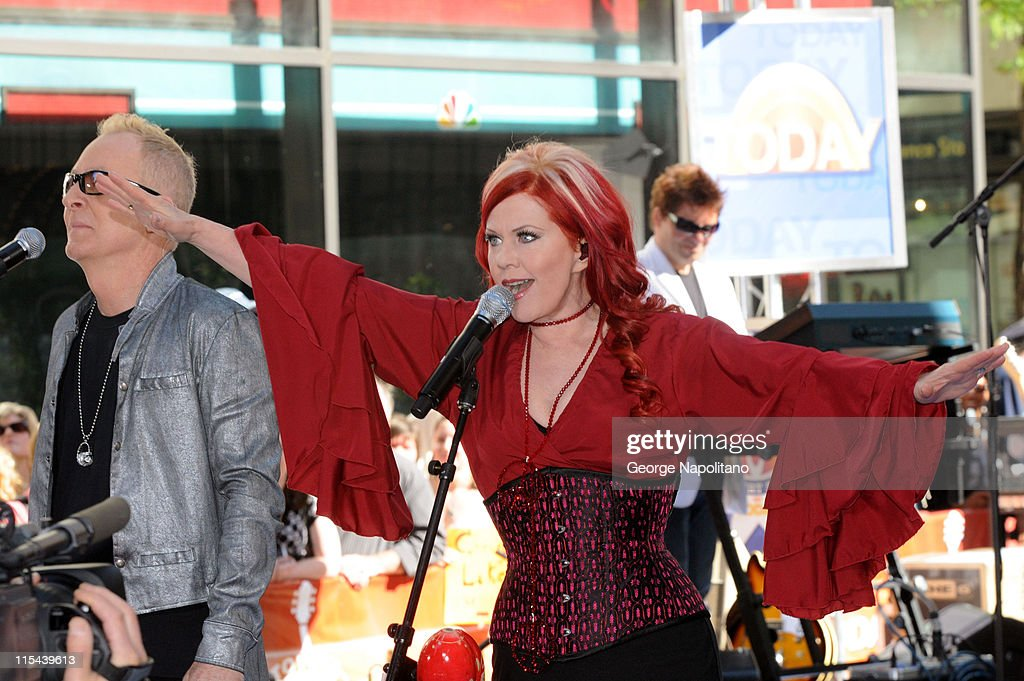 Fred Schneider and Kate Pierson of the B52's perform On NBC's 'Today' in Rockefeller Center on May 26 2008 in New York City