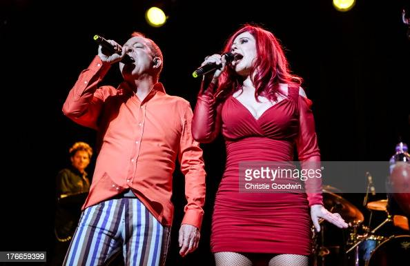 Fred Schneider and Kate Pierson of The B52's perform on stage at Indigo2 at O2 Arena on August 16 2013 in London England