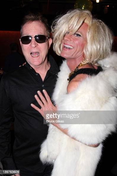 Fred Schneider of 'The B52's' and David Drake as 'Tawny Heatherton' pose backstage at the musical play 'My Tawny Valentine' OffBroadway at The Laurie...