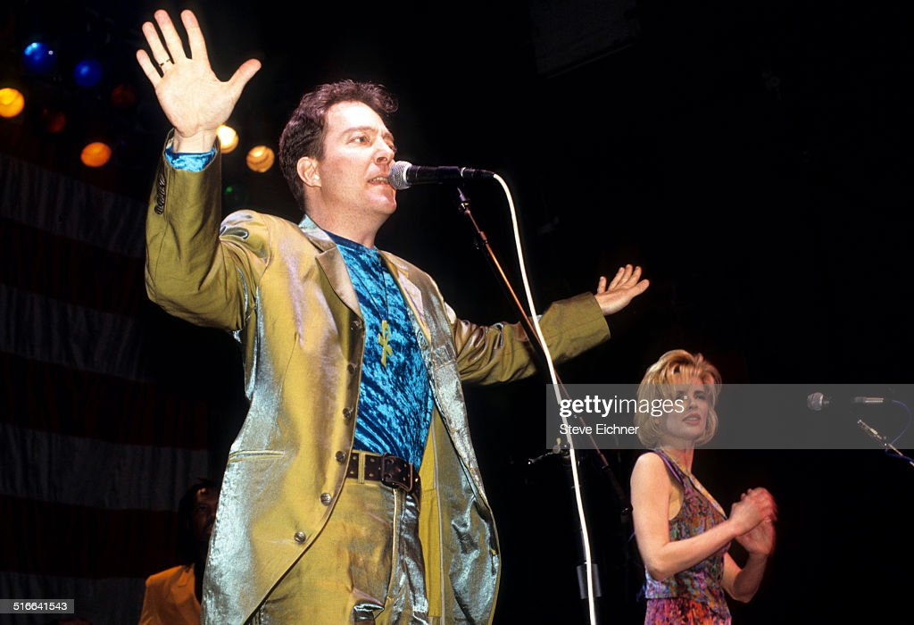 Fred Schneider of the B52's and Kim Basinger perform at a Campaign rally for Jerry Brown at the Ritz New York March 25 1992