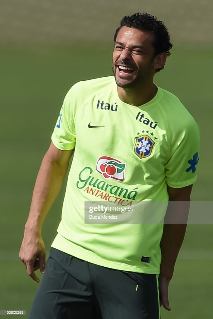 Fred smiles during a training session of the Brazilian national football team at the squad's Granja Comary training complex, on June 14, 2014 in Teresopolis, 90 km from downtown Rio de Janeiro, Brazil.