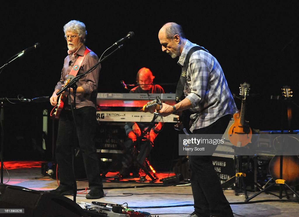 Fred Tackett, Bill Payne and Paul Barrere of Little Feat perform on stage at Norwich UEA LCR on February 10, 2013 in Norwich, England.