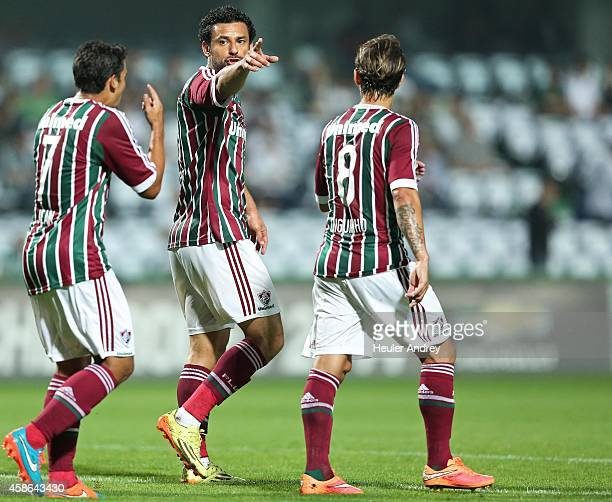 Fred talks Jean of Fluminense during the match between Coritiba and Fluminense for the Brazilian Series A 2014 at Couto Pereira stadium on November...